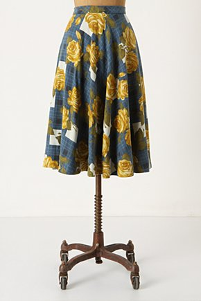 Settee Roses Skirt - Anthropologie.com :  linen blend rose print blue and floral vintage inspired
