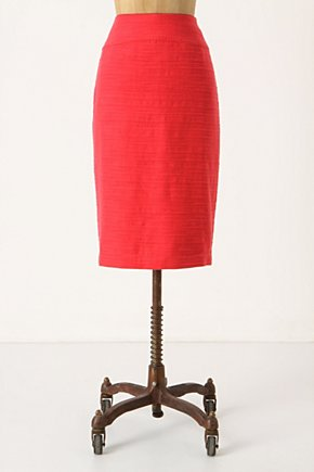 Foundational Pencil Skirt - Anthropologie.com :  linen blend cheery cotton blend textured