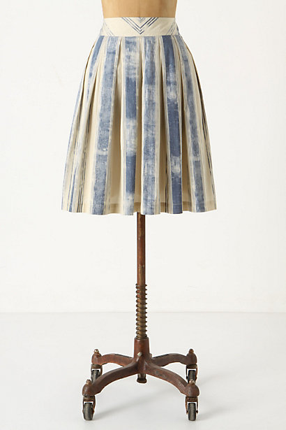Pitter-Patter Skirt - Anthropologie.com :  striped pleats side pockets azure