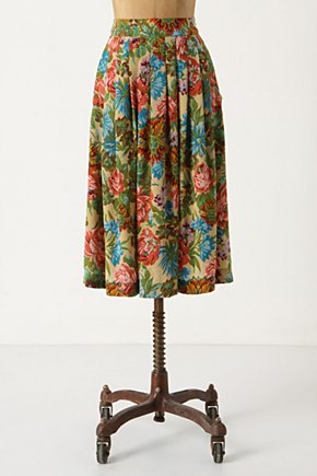 Embroidery Pattern Skirt - Anthropologie.com :  faux embroidery floral print silk slouchy