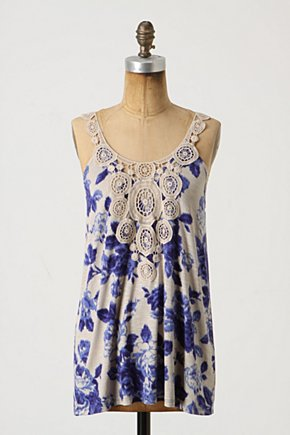 Grapevine Tank - Anthropologie.com :  doily blue and white yoke rose print