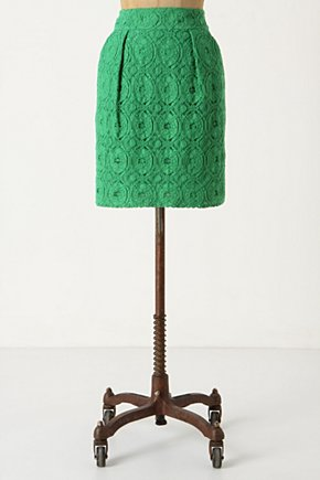 Bosky Lace Skirt - Anthropologie.com :  lace needlework green side pockets