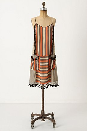 Petit Fours Dress - Anthropologie.com :  pom poms silk chiffon brown adjustable
