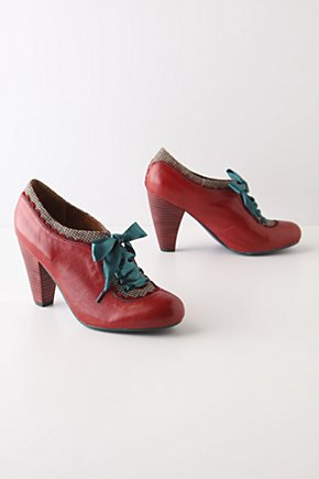 Aldourie Fling Booties - Anthropologie.com :  leather stacked heel houndstooth red
