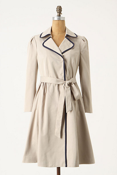Fair Lady Trench - Anthropologie.com :  waist tie piping gathers navy