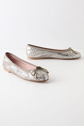 Morelia Ballerinas - Anthropologie.com :  leather embossed silver ballet flats