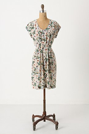 Junebug Dress - Anthropologie.com :  silk green and floral summer dress pleats