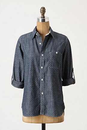Traced & Tabbed Buttondown - Anthropologie.com :  roll up sleeves shirt topstitching button down