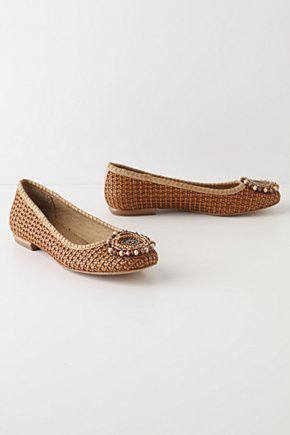 Rattanesque Skimmers - Anthropologie.com :  leather skimmers basket weave