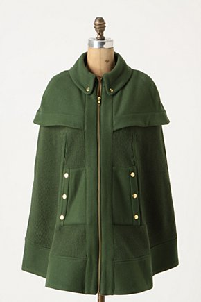 Fatigue Finery Cape - Anthropologie.com :  military style zip closure cape side pockets