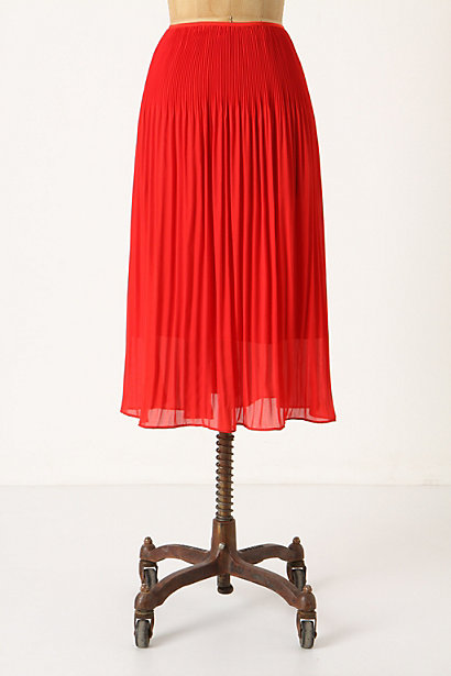 Crimped Crimson Midi - Anthropologie.com :  crimson midi skirt crepe summery