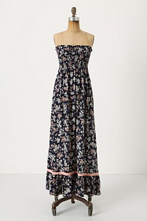 Flore Pleno Maxi Dress - Anthropologie.com :  pink smocked silk navy and floral