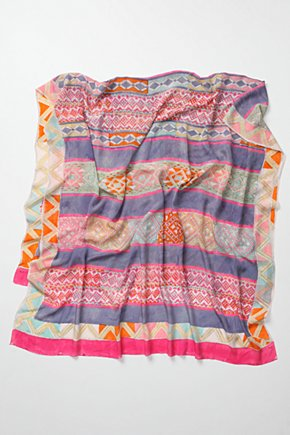 Dabu Scarf - Anthropologie.com :  fair trade striped lilac silk