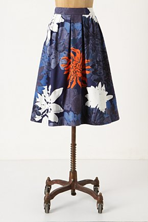 Full-On-Floral Skirt - Anthropologie.com :  chrysanthemum blue and floral crimson side pockets
