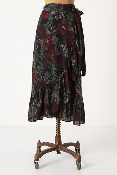 Understorey Skirt - Anthropologie.com :  black and floral vintage inspired ruffled wrap skirt