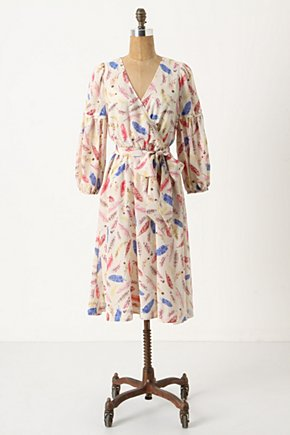 Galah Dress - Anthropologie.com :  wrap dress feather print tropical print floaty