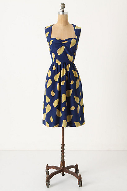 Tupelo Dress - Anthropologie.com :  blue open back side pockets gold