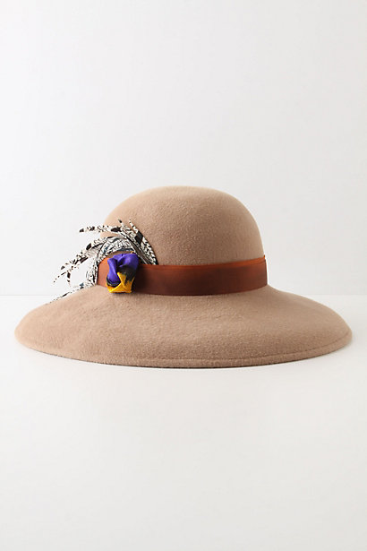 Sant Carles Hat - Anthropologie.com :  ikat feathers brown boho