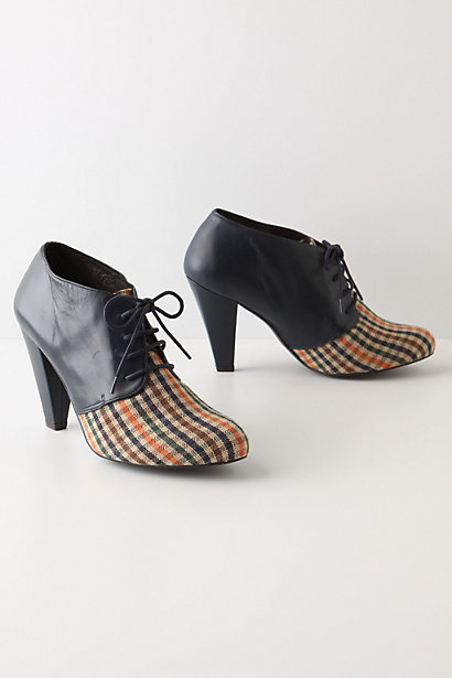 Tweed Toes Booties - Anthropologie.com :  preppy plaid lace up tweed