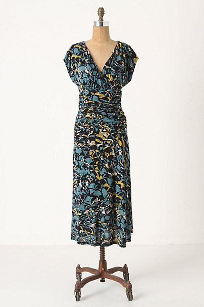 Botanica Dusk Dress - Anthropologie.com :  nature inspired blue and floral summer dress ruched
