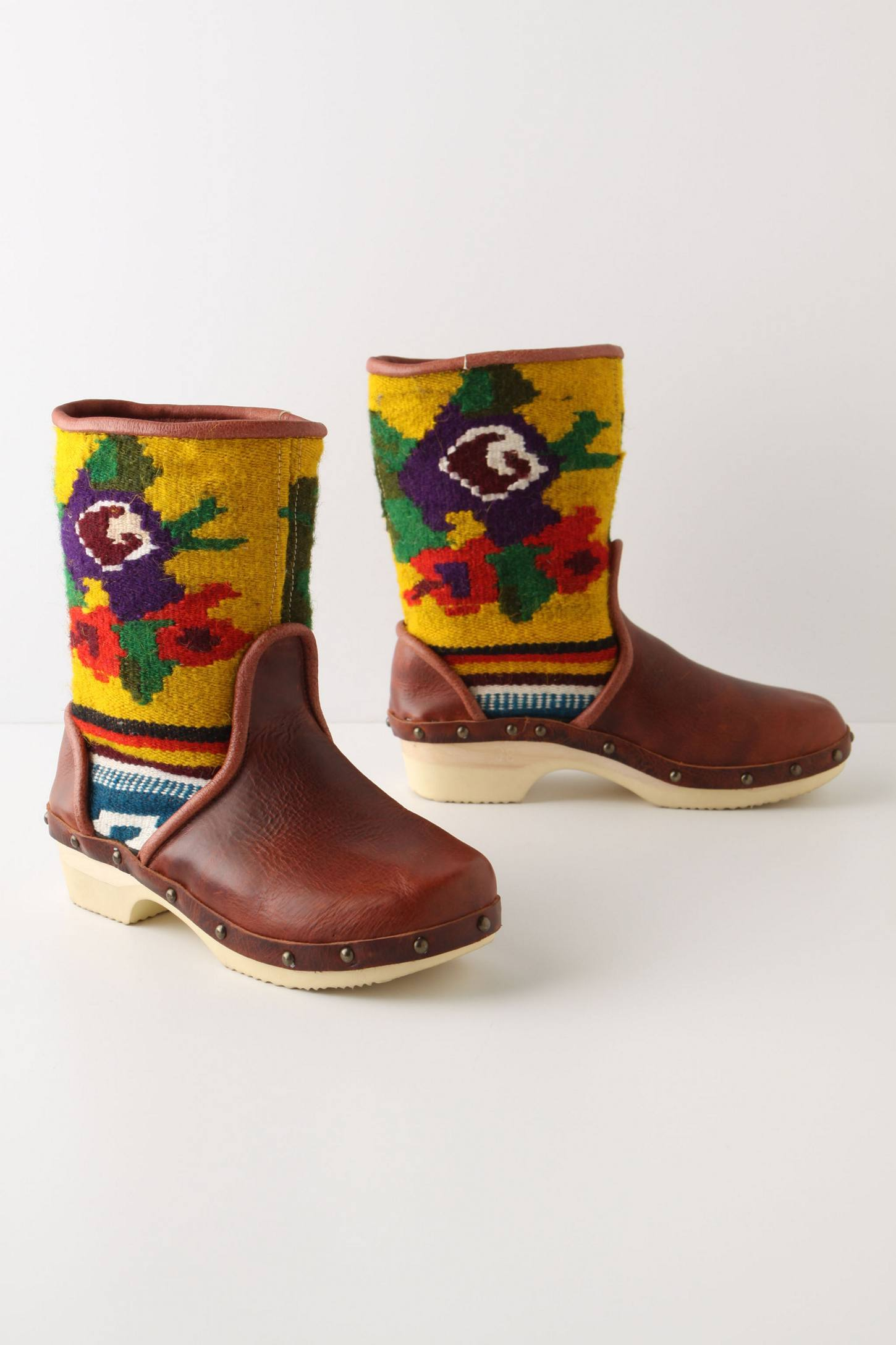 Vintage tapestry boots with yellow purple and green and red leg parts and brown toe