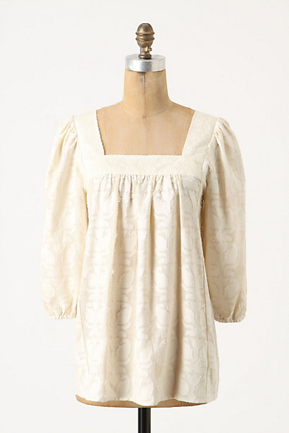 Delft Peasant - Anthropologie.com :  tea damask ivoty peasant top