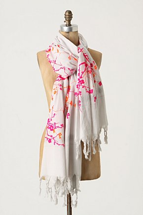 Yoshino Cherry Scarf - Anthropologie.com :  cherry blossom flocked handmade cotton blend