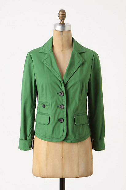 So Saturated Blazer - Anthropologie.com :  button front blazer cheery front pockets