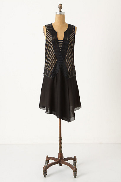 Leatrice Dress - Anthropologie.com :  striped flapper little black dress nude