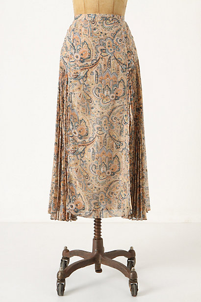 Persian Floral Midi Skirt - Anthropologie.com :  neutral midi skirt below the knee pintucked