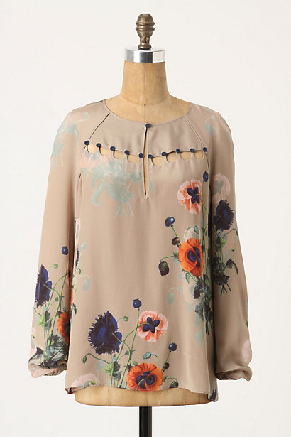 Ottoman Poppies Blouse - Anthropologie.com :  blouse nature inspired silk poppy