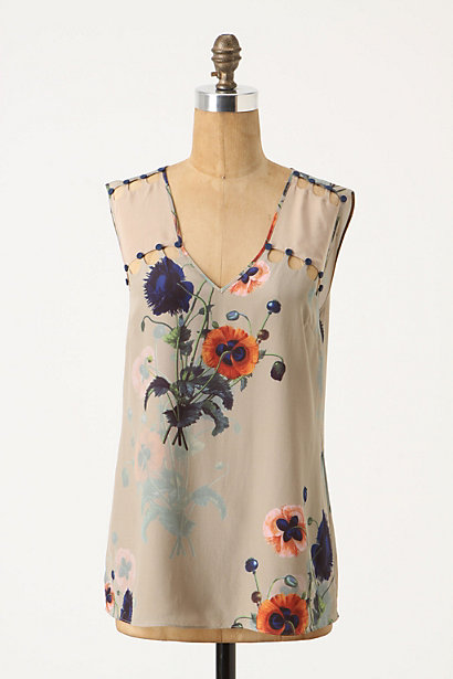 Ottoman Poppies Tank - Anthropologie.com :  nature inspired silk poppy cutout detail