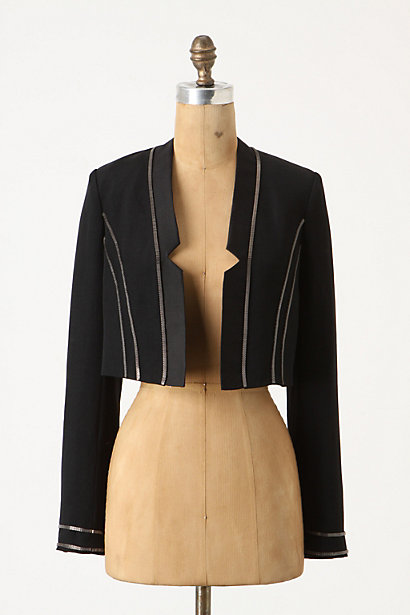 Sofya Cropped Jacket - Anthropologie.com :  cropped notched neckline blazer metallic