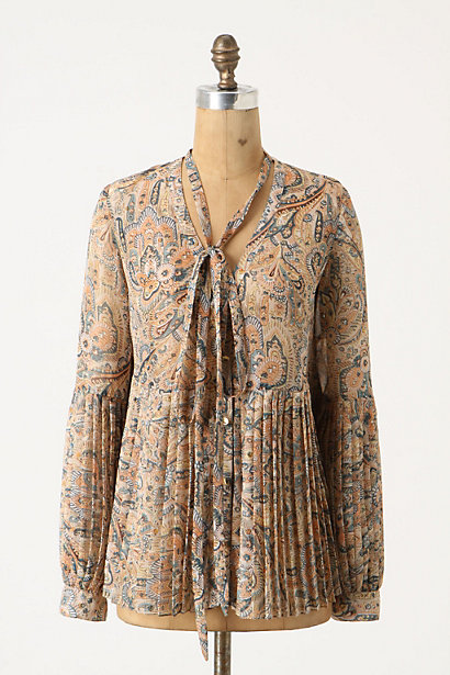 Persian Floral Blouse - Anthropologie.com :  button front blouse neutral crepe