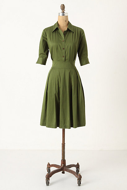 Ihrin Shirtdress - Anthropologie.com :  shirt dress seam pockets menswear inspired pleats