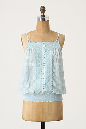 Eyelet Tank - Anthropologie.com :  scalloping placket eyelet blouson top