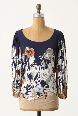 Gathered Bell Sleeve Floral Top - Size L - $79