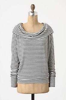 Striped Shawl-Collar Boatneck