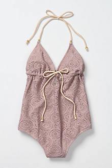 Crocheted Halter Maillot