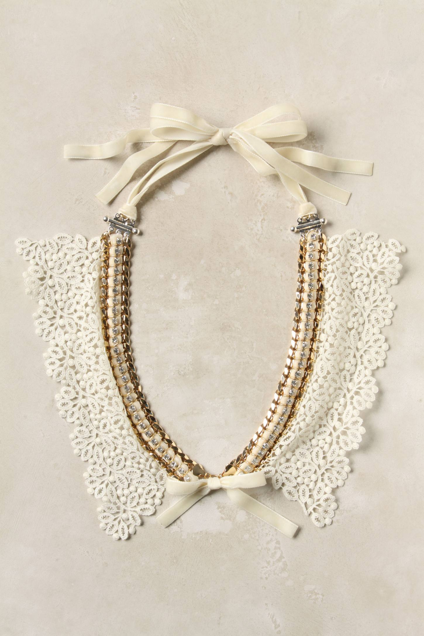 Chained Lace Bib - Anthropologie.com :  necklace bow chain victorian