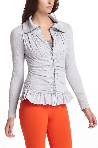 Crinkled Zip-Up  :  jacket peplum