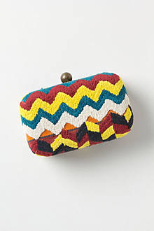 Crunched Stripes Woven Clutch