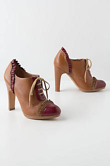 Bordeaux-Ruffled Oxford Heels