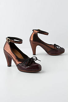Copper-Dusted Heeled Oxfords