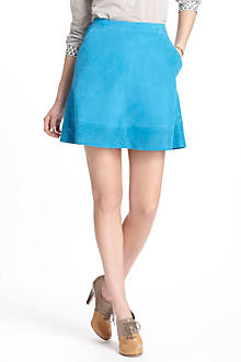 Perforations Suede Skirt