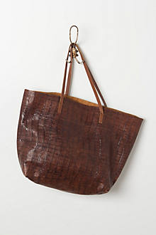 Croc-Embossed Leather Tote