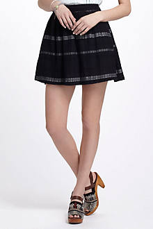Striped & Pleated Skirt