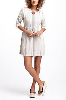 Striped & Pleated Mini Dress