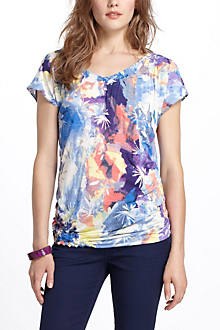 Watercolor Blooms Asymmetric V-Neck