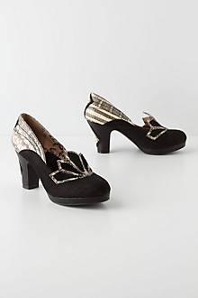 Fanned Snakeskin Heels
